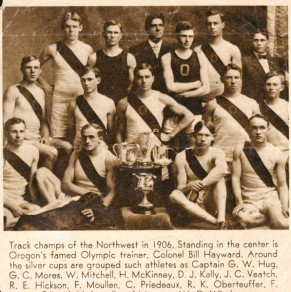 The 1906 Oregon Track team with legendary coach, Bill Hayward, standing in the middle.
