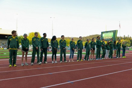 The 19 Oregon Seniors in the Recognition Ceremony during the Oregon Twilight.