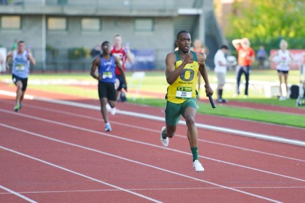 Mike Berry winning the 4x100 Meter Relay during the Oregon Twilight.