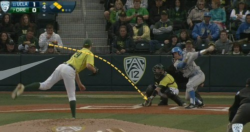 UCLA top 4, 1 out, first pitch changup, s + m
