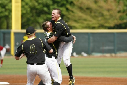 """Celebrating the """"small"""" things in life after a walk-off bunt."""