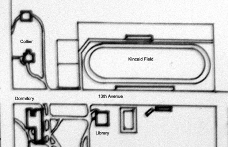 A small part of the campus map in the late 1800's or early 1900's.