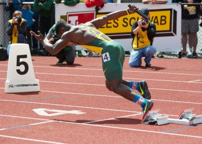 Dior Mathis taking off in the 4x100 meter race during the Oregon Relays/Arkansas Dual