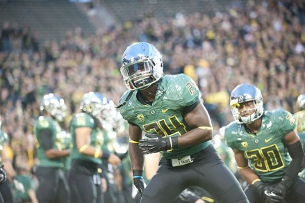 Running back Kenjon Barner, who has a relatively slight frame for his position, was passed over by many other schools before landing at Oregon where he thrived for four years.