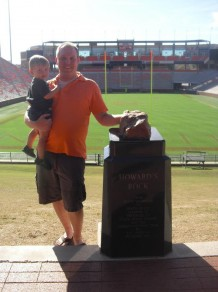 My son and I when we visited Clemson's Stadium