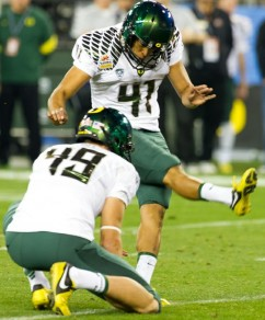 Oregon scores a lot of points, so taking their kickers could pay off.