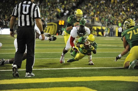 Byron Marshall leaps for the end zone