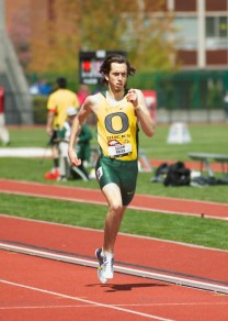 Elijah Greer taking first place during the 800 meter race during the Oregon Relays.