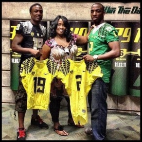 Tyrell and Tyree Robinson with their Mother, following their visit during the Arizona game in 2012.