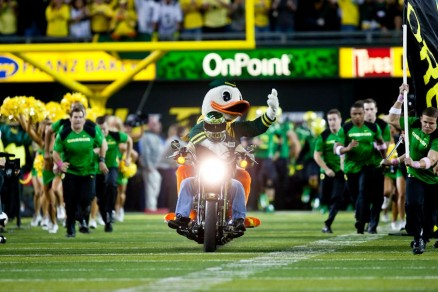 """The Duck roars onto the field in a """"Mighty Oregon"""" moment."""