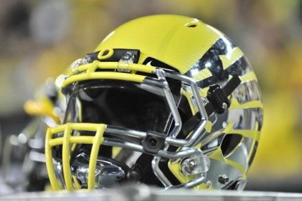 One of the most spectacular helmets in Oregon football history, worn by the Ducks in 2012.