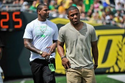 Ed Dickson and former-teammate LaMichael James at the 2013 Spring Game.