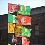 Flags Fly before the Ducks Cougars game last year in Seattle