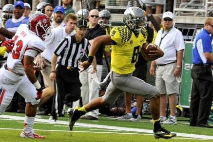 Mariota lead the Ducks to a 12-1 record and a Fiesta Bowl victory during the 2012-2013 season.