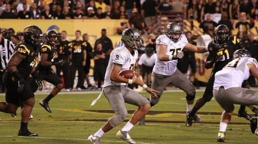 Mariota looking quite lean vs. ASU.  Still scored 43 points in the first 19 minutes.