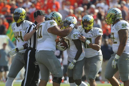 The center of Oregon defense was all over the ball all day