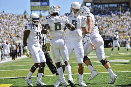 (left to right) Bralon Addison, De'Anthony Thomas, and Marcus Mariota combined for 6 TD's against Nicholls St