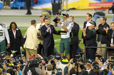 Marcus Mariota as MVP of 2013 Fiesta Bowl