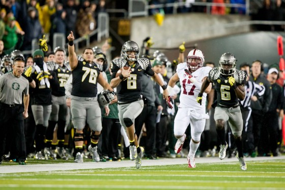 Marcus Mariota's dynamic run was one of the highlights of Oregon's 2012 contest against Stanford