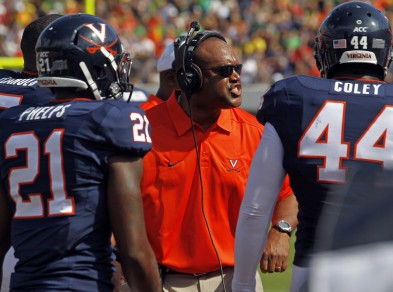 Coach Mike London on the sidelines against Oregon