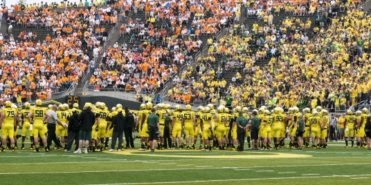 Tennessee fans had a strong presence at Autzen Stadium, but were still lost in a sea of yellow