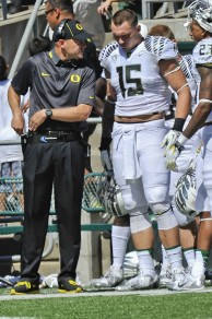 Coach Mark Helfrich looked calm and composed in his debut for the Ducks.