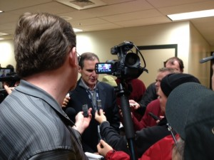 Larry Scott addressing the media at halftime of Saturday's game