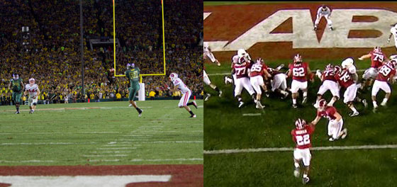 Oregon and Alabama were winners in their last trips to Pasadena.  Will the meet for it all this year?