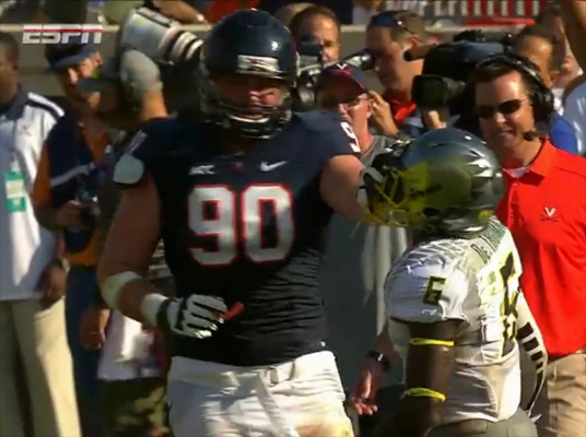 Virginia defensive end Jake Snyder shows his classiness in the 2nd quarter of Saturday's game