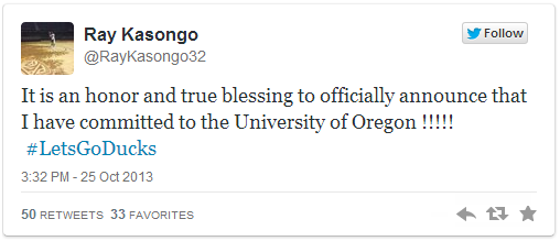 F Ray Kasongo (3-Star/Lick Creek, KY) announced his Oregon commitment via Twitter.