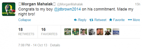 "QB Morgan Mahalak (3-Star/Kentfield, CA) wished his newest teammate, WR Jalen Brown (4-Star/Phoenix, AZ/Rivals250) ""Welcome"" via Twitter."