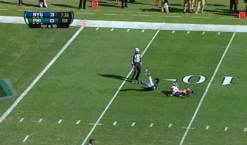 Micheal Vick, immobile, gets sacked, fumbles and recovers