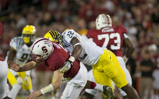 Kevin Hogan getting knocked around by the Derrick Malone