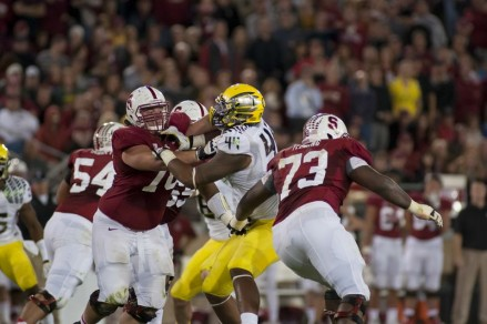 Photo: Craig Strobeck Stanford's line consistenly locked up Oregon's defense.