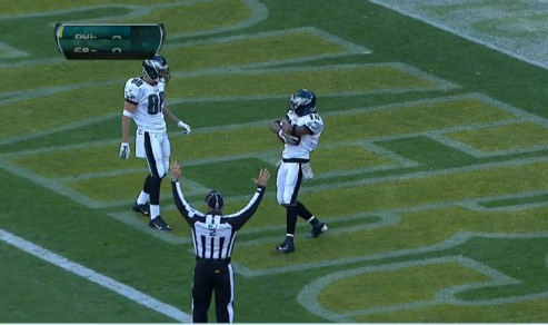 DeSean struts slowly backwards into the endzone