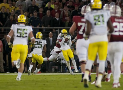 "Ifo Ekpre Olomu picks off the worst pass in Stanford history, but instead ""glasses ref"" stuck another needle in his Duck voodoo doll"