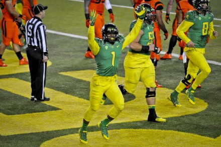 Huff had his best game this past weekend when he scored three touchdowns to help beat OSU.