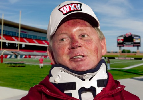 Might be a good idea not to ask Coach Petrino why his face is all cut up.