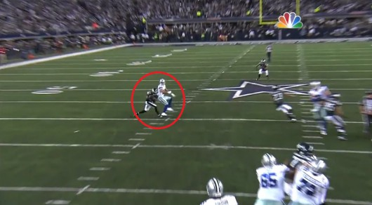 Brandon Boykin steps in front of Miles Austin for the game-clinching interception