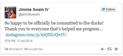 LB Jimmie Swain (3-Star/Olathe, KS) Tweeted following his announcement.