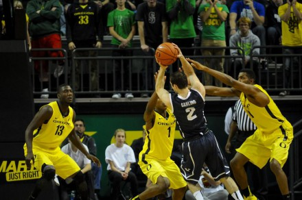 Oregon double teaming inside, but Bears make Ducks pay beyond the arc.