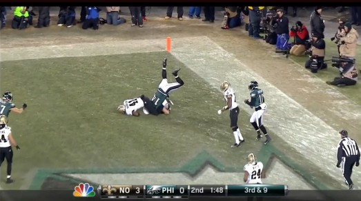 Riley Cooper: face plant or TD celebration?