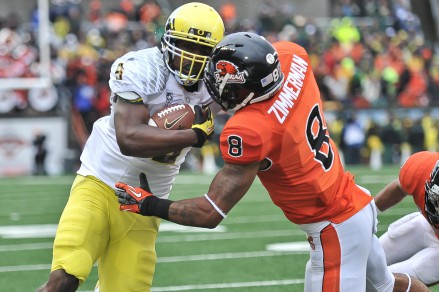 Byron Marshall was a 1,000 yard rusher for the Ducks in '13, more than double his production from last season.