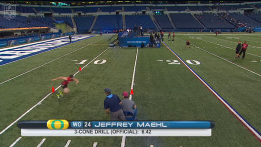 Jeff Maehl sets the three-cone record at the 2011 NFL Combine