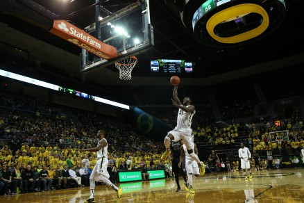 Richard Amardi elevates for a hammering dunk against the Huskies.