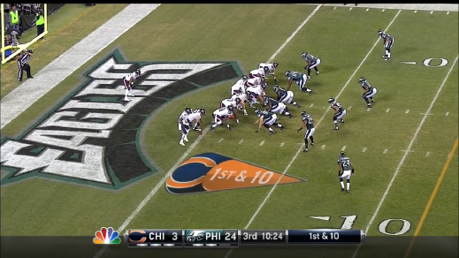 The Eagles with a four-man front versus the Bears