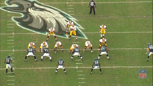 The Eagles in their 3-4 base defense.