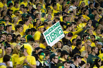 "A Oregon fan shows their ""love"" for the Huskies"