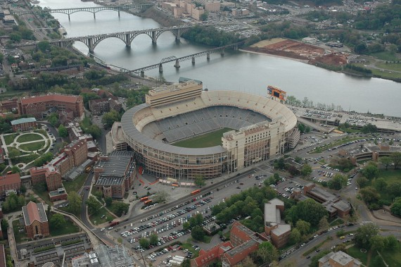 Aerial shot of campus and Neyland Stadium