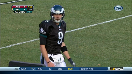 Nick Foles lines up at receiver in the red-zone.
